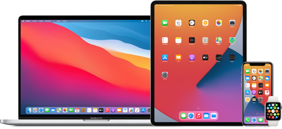 Um Mac, um iPad, um iPhone e um Apple Watch.