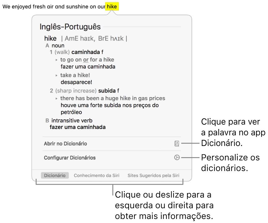 A janela Pesquisa mostrando definições de Dicionário e Tesauro para uma palavra.