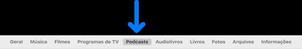 Barra de botões mostrando a seleção Podcasts.