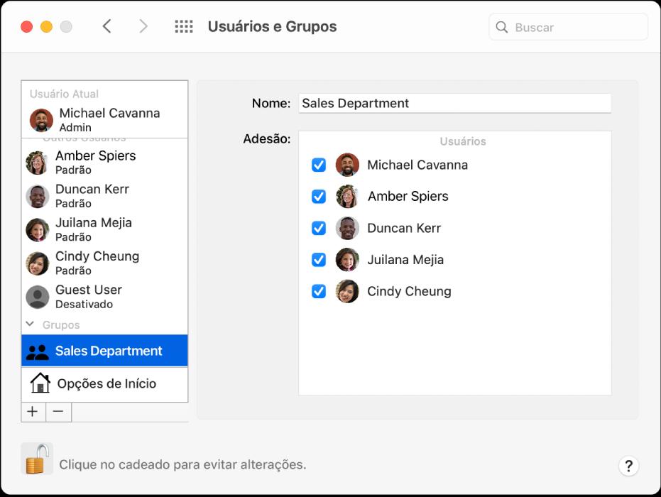 """Preferências """"Usuários e Grupos"""" mostrando um grupo selecionado à esquerda. O nome do grupo e seus membros são mostrados à direita."""