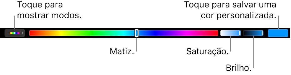 A Touch Bar mostrando os controles de matiz, saturação e brilho para o modo HSB. Na extremidade esquerda, encontra-se o botão para mostrar todos os modos; à direita, o botão para salvar a cor personalizada.