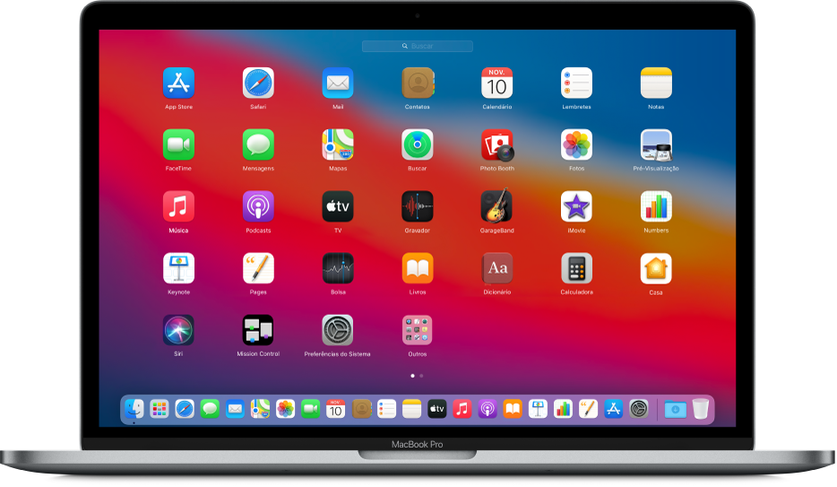 Launchpad mostrando ícones de apps em um padrão de grade na tela do Mac.