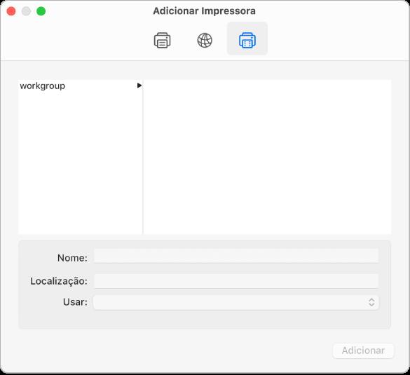 Caixa de diálogo Adicionar Impressora, mostrando o botão Windows selecionado, opções para selecionar um grupo de trabalho, e campos para inserir o nome e a localização da impressora, além do menu local Usar para escolher o tipo de impressora.