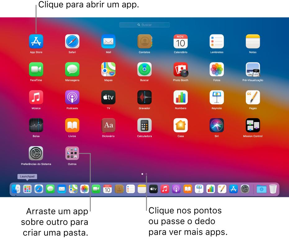 Launchpad mostrando apps que você pode abrir.