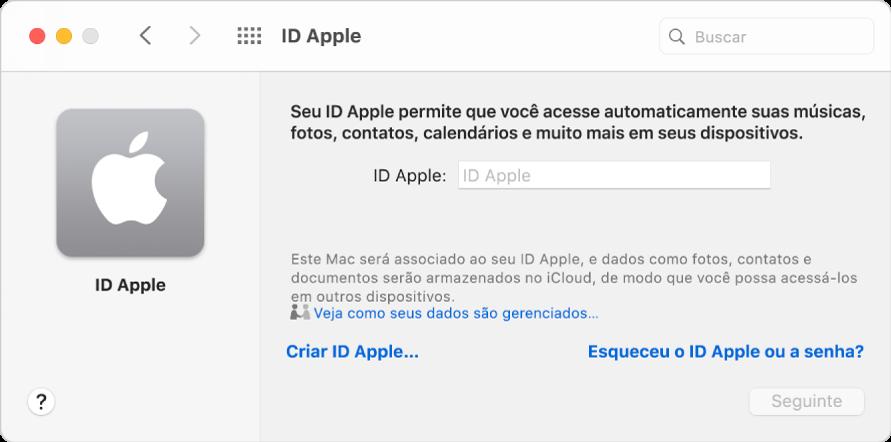 Diálogo de início de sessão do ID Apple, aguardando que um ID Apple e uma senha sejam digitados.