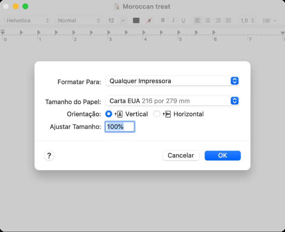 Opções de impressão padrão, mostrando o menu local de opções de impressão e a opção Ajustar Tamanho, com uma caixa de porcentagem para especificar o tamanho desejado da impressão.