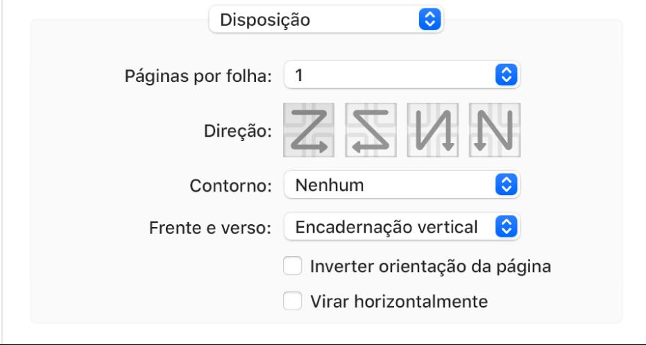 """A opção Disposição selecionada no menu pop-up de opções de impressão com a opção """"Inverter orientação da página""""."""