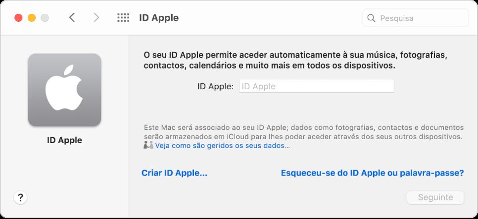Caixa de diálogo de início de sessão do ID Apple, pronta para a introdução do nome e palavra-passe de um ID Apple.