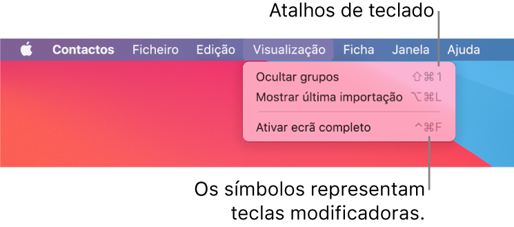 A aplicação Safari com uma indicação dos atalhos de teclado do menu Ficheiro