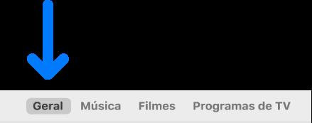A barra de botões a mostrar Geral selecionado.