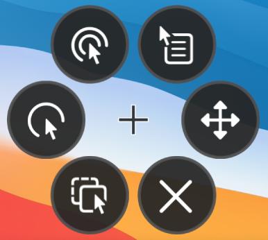 """O menu de opções circular, cujos botões incluem, do canto direito e no sentido dos ponteiros do relógio, """"Clique da direita"""", """"Menu de deslocação"""", Fechar, """"Arrastar e largar"""" """"Clique da esquerda"""" e """"Duplo clique""""."""
