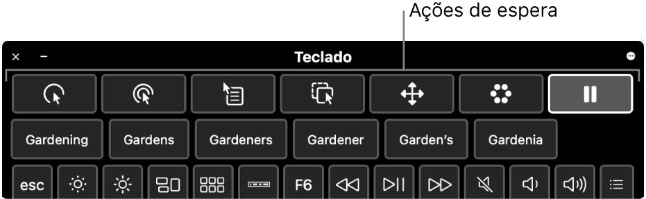Botões de ação de espera localizados na parte superior do teclado para acessibilidade.