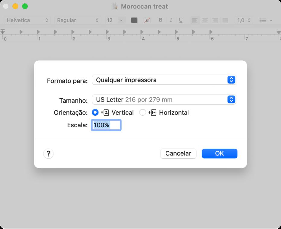 As opções predefinidas de impressão a mostrarem o menu pop-up de opções de impressão e a opção Escala com uma caixa de percentagem para especificar a escala pretendida para impressão.