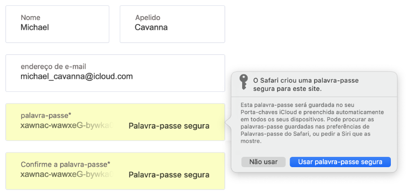 Uma caixa de diálogo a mostrar que o Safari criou uma palavra-passe segura para um website, que será guardada no Porta-chaves iCloud do utilizador e estará disponível para preenchimento automático nos dispositivos do utilizador.