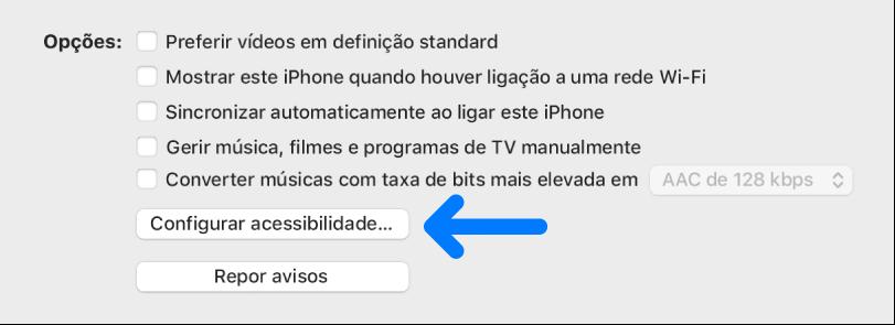 """As opções de sincronização aparecem com o botão """"Configurar acessibilidade"""" identificado."""