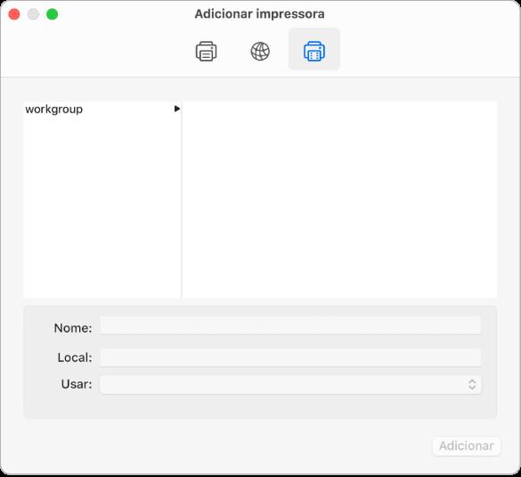 """A caixa de diálogo """"Adicionar impressora"""" a mostrar o botão Windows selecionado, opções para selecionar um grupo de trabalho, os campos para introduzir o nome e a localização da impressora e o menu pop-up Usar para selecionar o tipo de impressora."""