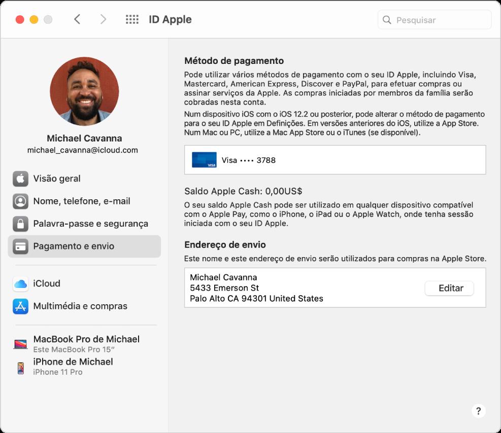 Preferências do ID Apple apresentando uma barra lateral com vários tipos de opções de conta que pode utilizar e as preferências de pagamento e envio de uma conta já existente.