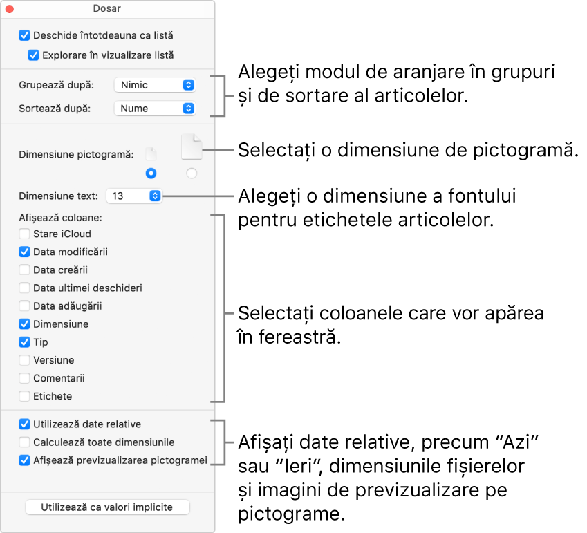 Opțiunile de vizualizare Listă pentru un dosar.
