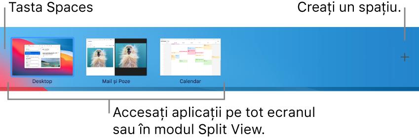 Bara Spaces prezentând un spațiu desktop, aplicații pe tot ecranul și Split View, precum și butonul Adaugă pentru a crea un spațiu.