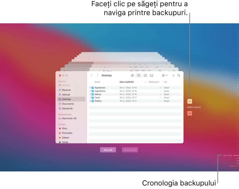 Atunci când deschideți Time Machine, veți vedea un ecran estompat, având stivuite mai multe ecrane Finder, care reprezintă backupurile. Faceți clic pe săgeți pentru a naviga printre backup-urile dvs. (sau faceți clic pe parcursul temporar al backup-urilor din dreapta) și alegeți fișierele de restabilit.