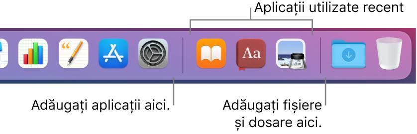O porțiune a Dock‑ului, afișând liniile de separare dintre aplicații, aplicațiile utilizate recent, fișierele și dosarele.