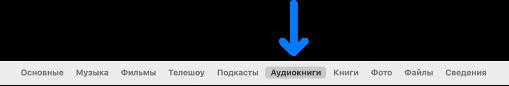 Панель кнопок свыбранной кнопкой «Аудиокниги».