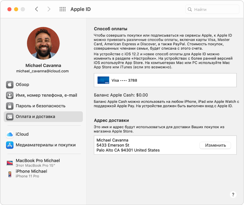 Настройки AppleID. Вбоковой панели показаны доступные типы учетных записей, атакже панельнастроек «Оплата идоставка» длясуществующей учетной записи.