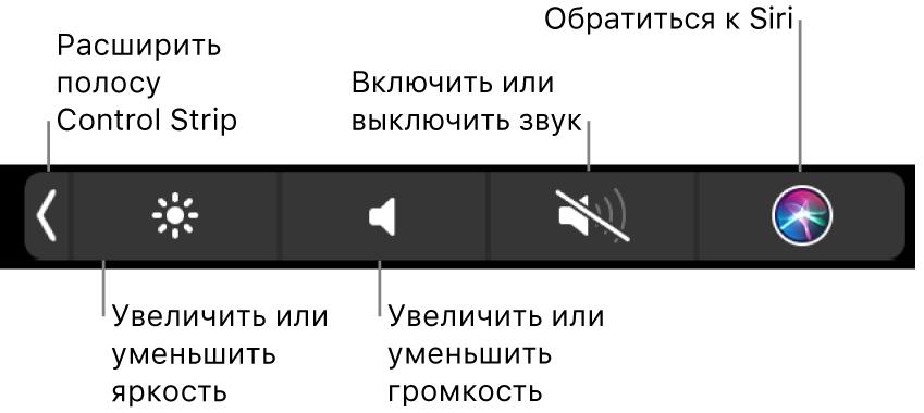 На свернутой полосе управления Control Strip есть следующие кнопки (слева направо): раскрытие Control Strip, увеличение и уменьшение яркости и громкости, включение и отключение звука, обращение к Siri.