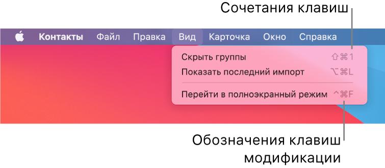 Приложение Safari ссочетаниями клавиш вменю «Файл»