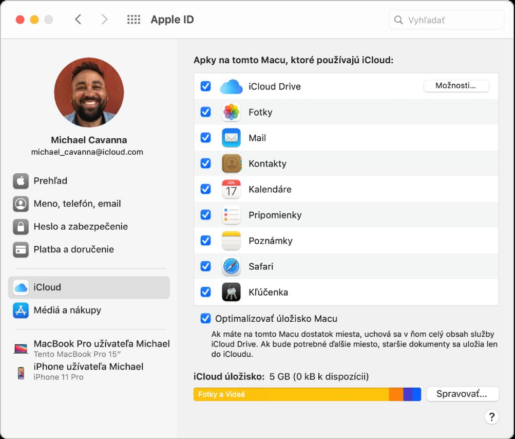 Nastavenia AppleID spostranným panelom obsahujúcim rôzne typy možností účtu, ktoré môžete použiť, anastaveniami iCloudu pre existujúci účet.