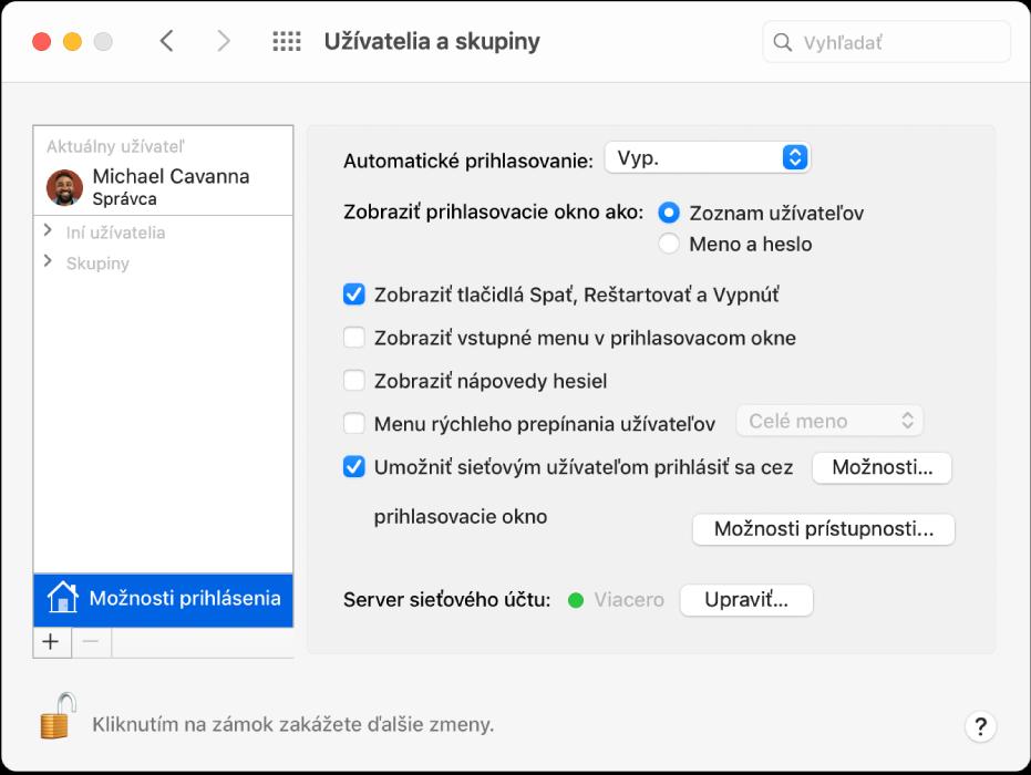 Nastavenia Užívatelia askupiny zobrazujúce vybraté Možnosti prihlásenia vzozname na ľavej strane amožnosti, ktoré môžete vybrať na pravej strane.