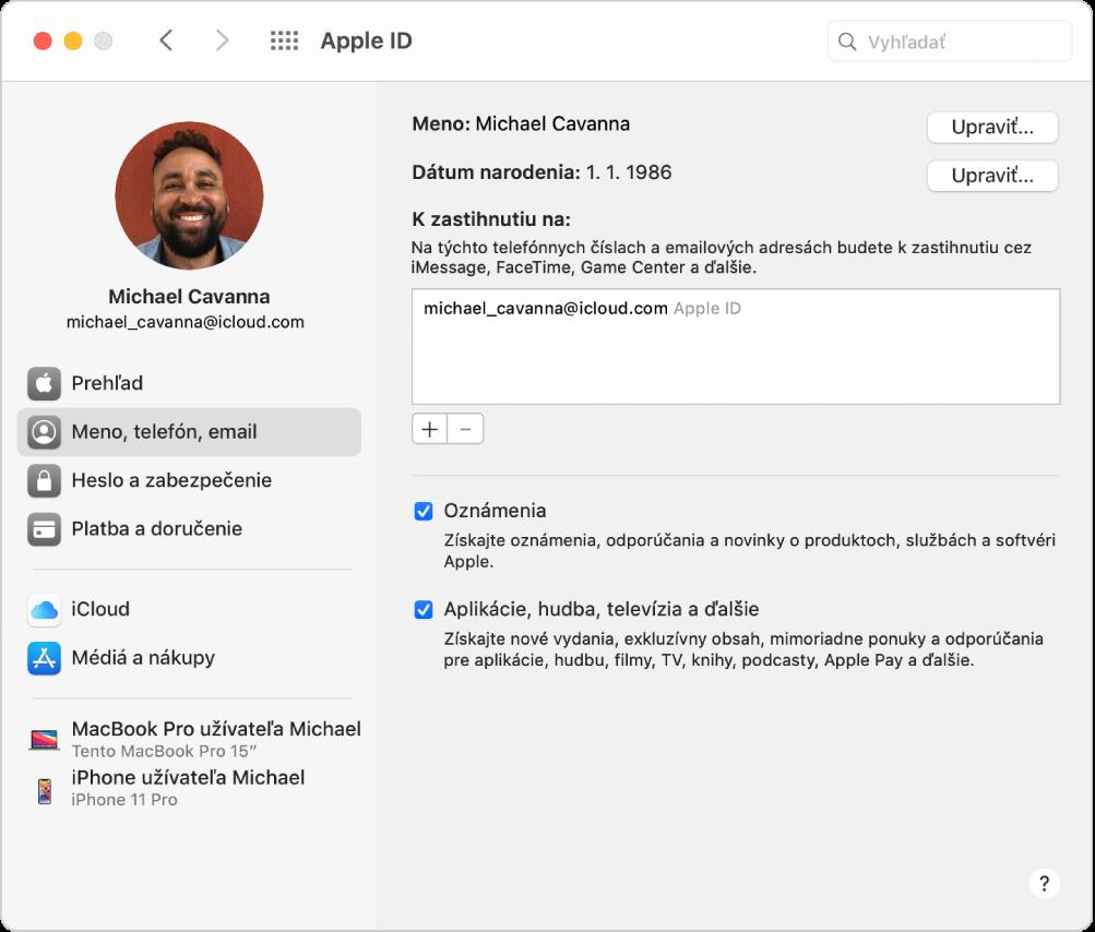 Nastavenia AppleID spostranným panelom obsahujúcim rôzne typy možností účtu, ktoré môžete použiť, anastaveniami Meno, telefón, email pre existujúci účet.