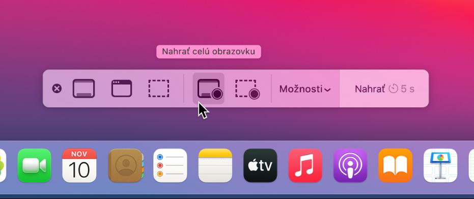 Plocha sotvorenou apkou Snímka obrazovky, ktorá je pripravená na záznam celej obrazovky.