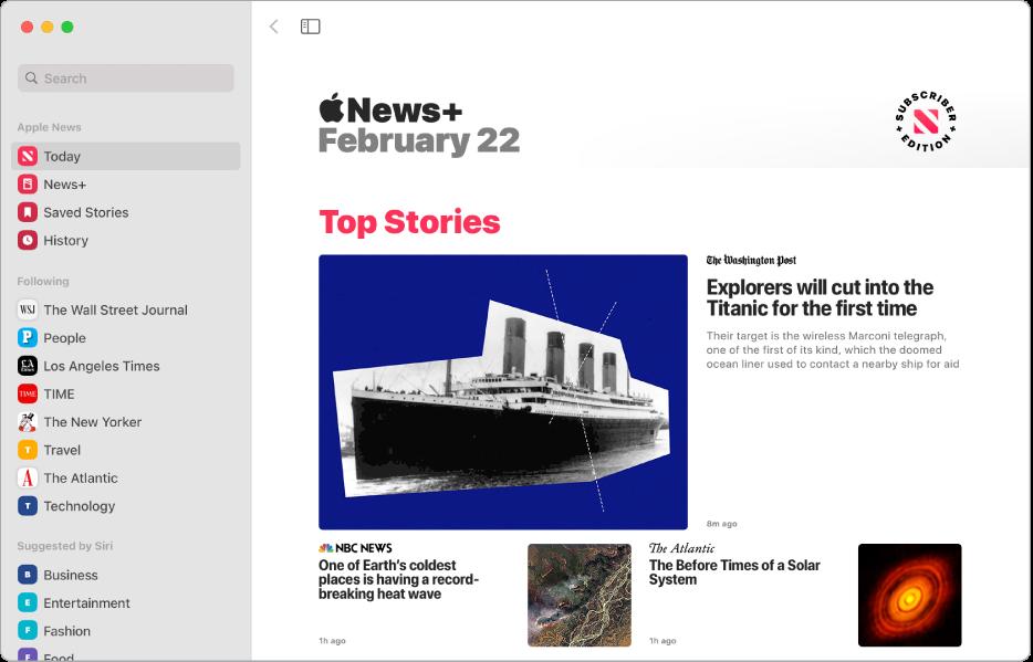 Apple News-fönstret med sidofältet till vänster och Top Stories till höger.