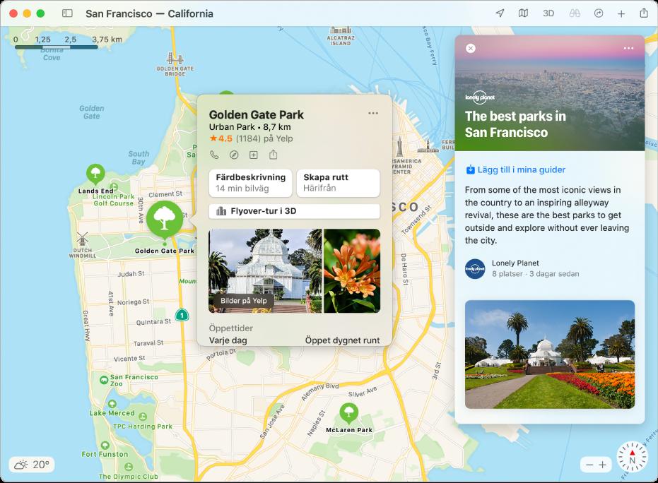 En karta över San Francisco Bay Area som visar guider till populära sevärdheter.
