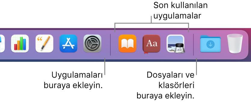 Son kullanılan uygulamalar bölümünün önündeki ve arkasındaki ayırıcı çizgileri gösteren Dock'un sağ ucu.
