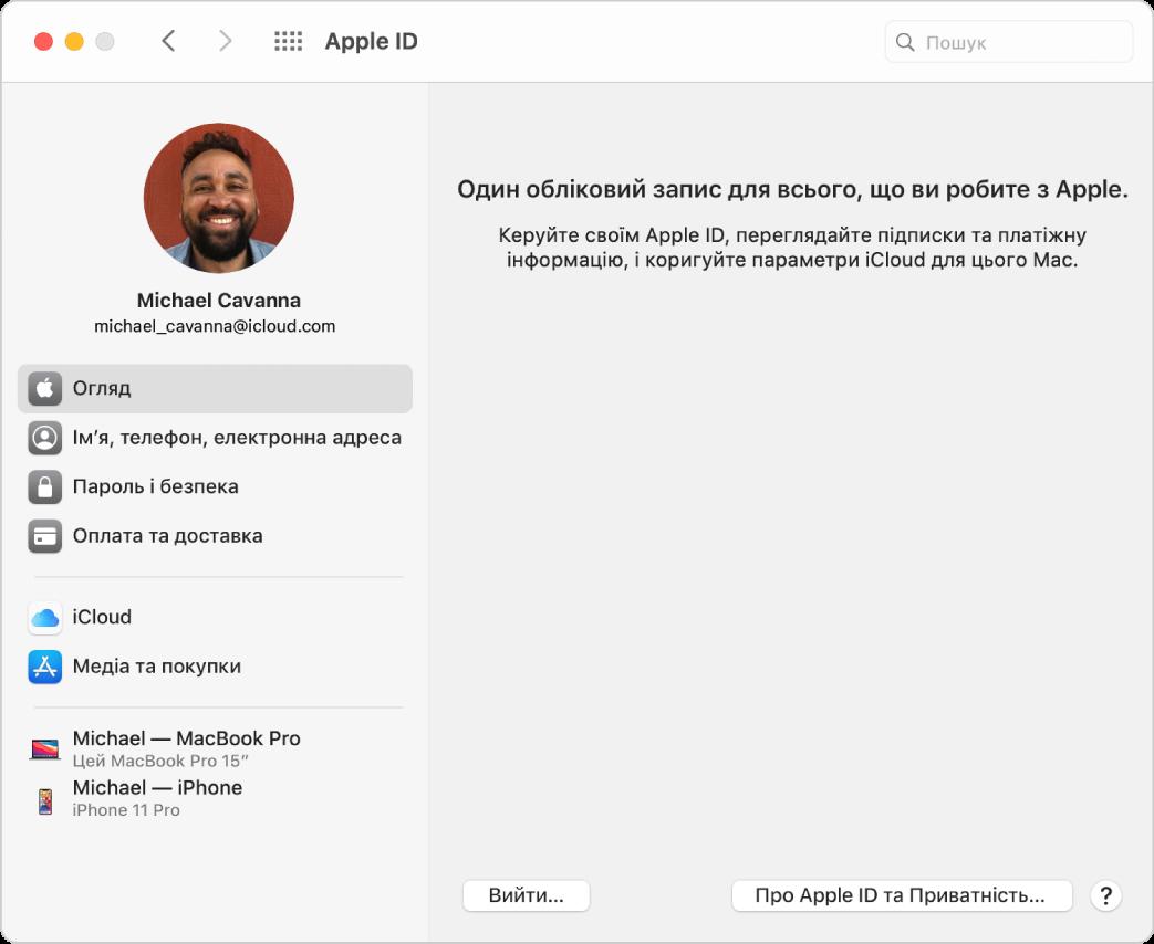 Параметри Apple ID, на боковій панелі представлено різні типи опцій облікового запису, які можна використовувати, а також огляд параметрів для наявного облікового запису.