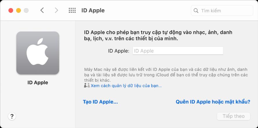 Hộp thoại đăng nhập ID Apple sẵn sàng cho việc nhập tên và mật khẩu ID Apple.