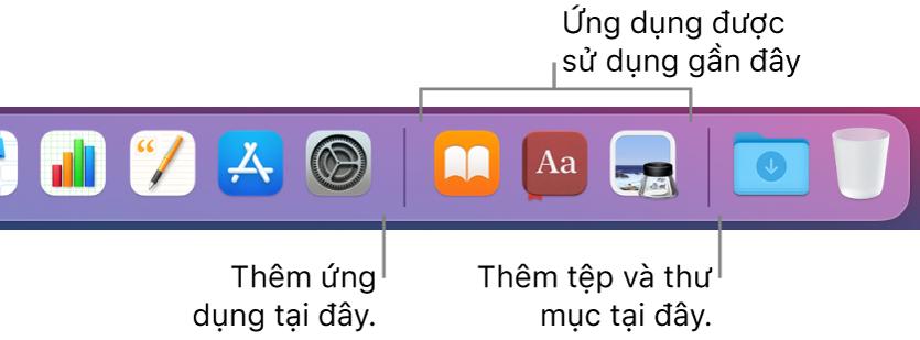 Một phần của Dock đang hiển thị đường phân tách giữa các ứng dụng, ứng dụng được sử dụng gần đây và các tệp cũng như thư mục.