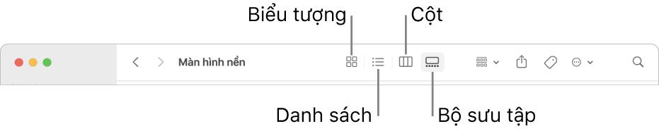 Đầu cửa sổ Finder đang hiển thị các nút tùy chọn Xem cho thư mục.