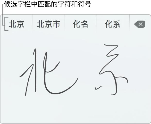 """通过手指使用简体中文书写""""北京""""后的""""手写输入""""窗口。在触控板上书写笔画时,候选字栏(位于""""手写输入""""窗口的顶部)显示可能的匹配文字和符号。轻点来选择候选字。"""