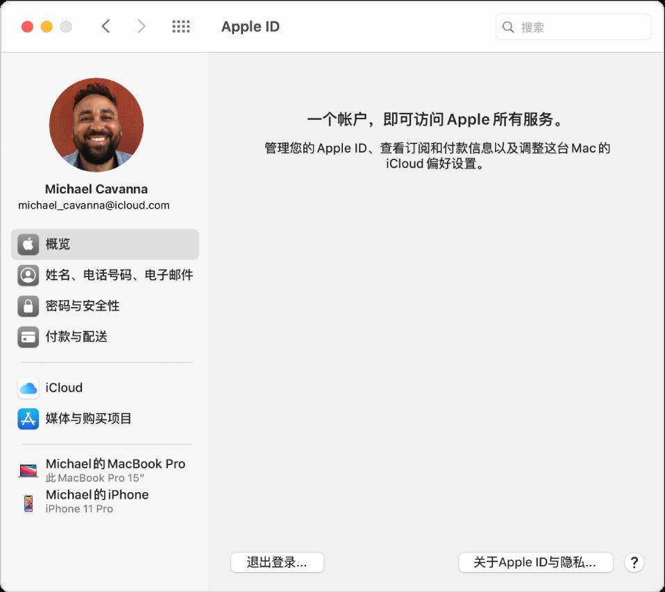 "Apple ID 偏好设置的边栏显示您可以使用的不同类型的帐户选项以及显示""退出登录""按钮的""概览""偏好设置。"