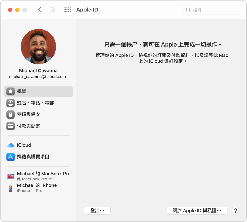 Apple ID 偏好設定顯示側邊欄(欄中有你可用的不同類型帳户選項),亦會顯示現有帳户的「概覽」偏好設定。