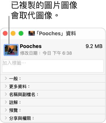 另一個資料夾的「資料」視窗,顯示一般圖像已被原始資料夾的圖片圖像取代。