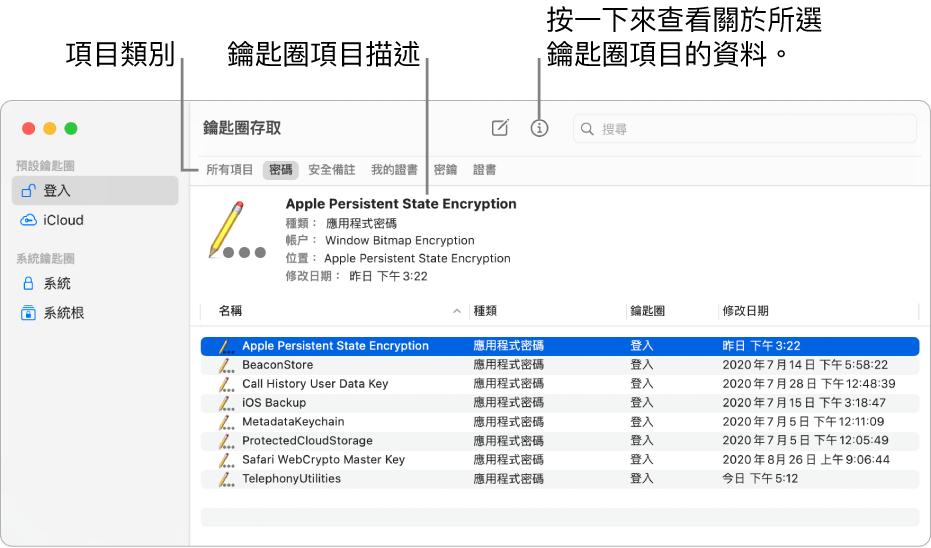 「鑰匙圈存取」視窗顯示側邊欄中的鑰匙圈。右側顯示所選登入鑰匙圈密碼的描述。