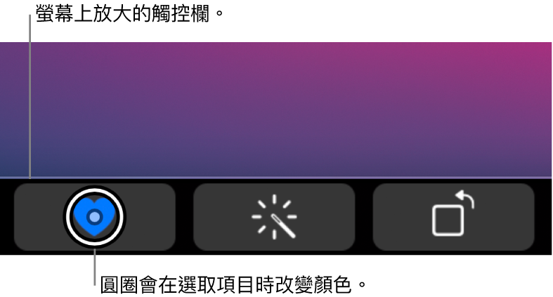 沿着螢幕底部的放大版「觸控欄」;選擇按鈕時,按鈕上的圓圈會更改。