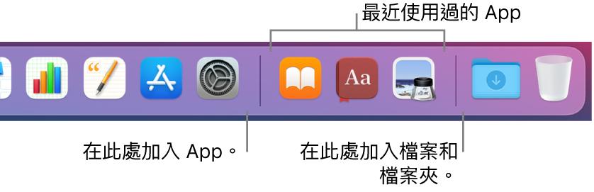 一部分的 Dock,顯示 App、最近使用過的 App 和檔案與檔案夾之間的分隔線。