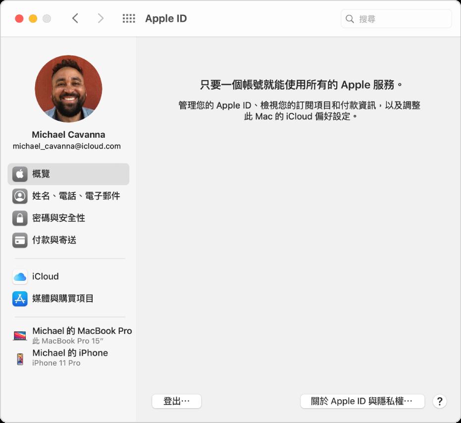 Apple ID 偏好設定顯示的側邊欄中包含不同類型的帳號選項供您使用,以及顯示「登出」按鈕的「概覽」偏好設定。