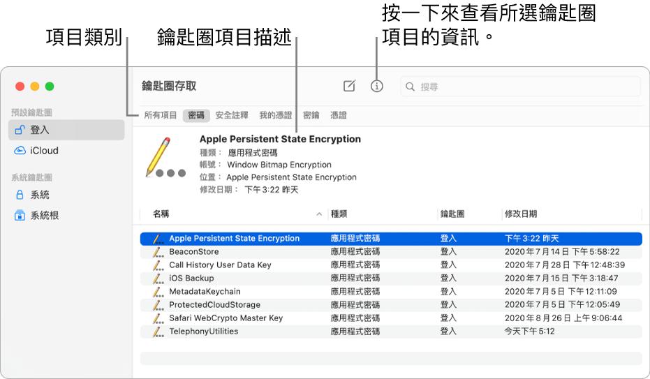 「鑰匙圈存取」視窗在側邊欄中顯示鑰匙圈。右側顯示所選登入鑰匙串密碼的描述。