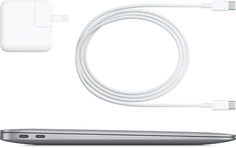 MacBook Air side view with accompanying accessories.